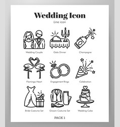 Wedding icons line pack vector