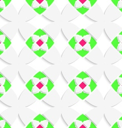 White geometrical ornament with green and pink vector