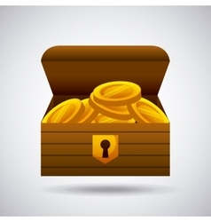 Wooden chest with gold coins vector