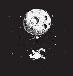 astronaut flies with a moon vector image vector image