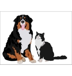 Dog and cat friends Animals standing together vector image