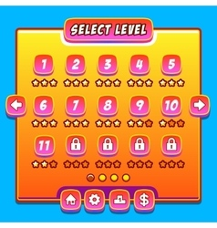 Orange game menu level interface panels ui buttons vector image