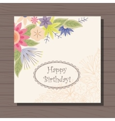 Birthday card with flowers in corner vintage on vector image vector image