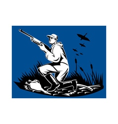 hunter aiming shotgun rifle at duck vector image vector image