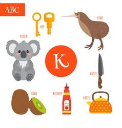 Letter K Cartoon alphabet for children Koala key vector image vector image