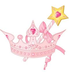 Princess crown and magic wand vector image vector image