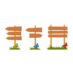 set of wooden sign vector image