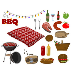 barbecue and grill collection set picnic food vector image