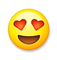 Emoji with heart-shaped eyes emoticon smiling vector image vector image