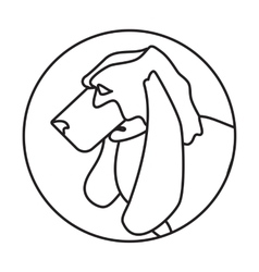 Line head basset dog in round vector image vector image