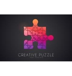 Puzzle logo Creative logo of puzzle pieces Color vector image