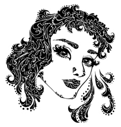 woman face for tattoo vector image