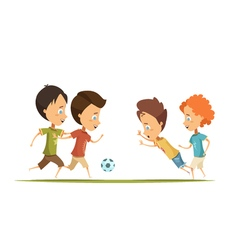 Boys Playing Soccer Cartoon Style vector image vector image