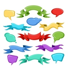 Cartoon ribbons and comic speech bubbles vector image vector image