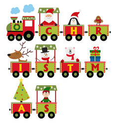 christmas train with characters vector image