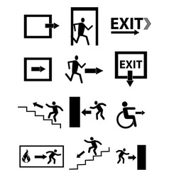 Exit sign icons set vector image