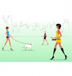 fashion ladies on the way vector image vector image
