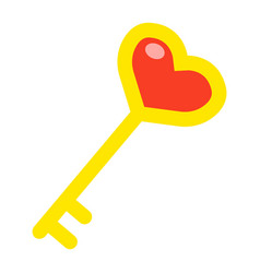 key with heart shape flat icon valentines day vector image