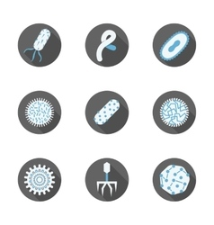 Microbiology round flat icons set vector image