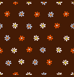 seamless pattern of white blue and orange flowers vector image vector image