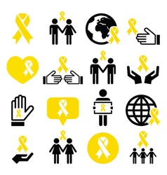 Yellow ribbon icons - suicide prevention support vector image vector image