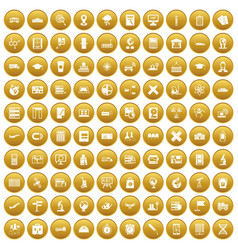 100 globe icons set gold vector