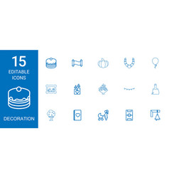 15 decoration icons vector