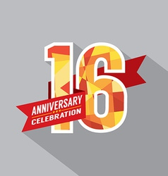 16th Years Anniversary Celebration Design vector image