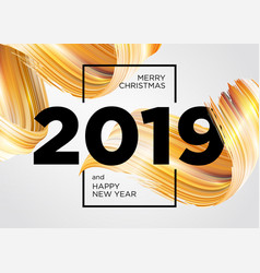 2019 merry christmas and happy new year card vector