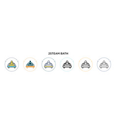 2steam bath icon in filled thin line outline vector