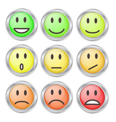 9 smileys mood color on white stock vector