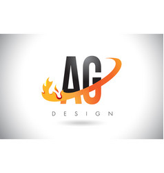 ag a g letter logo with fire flames design and vector image