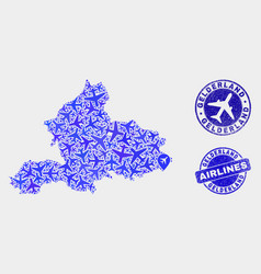 airline collage gelderland province map and vector image