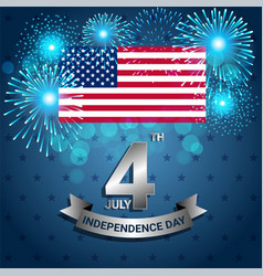 american flag with firework for independence day vector image