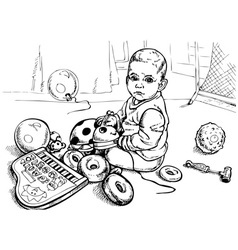 Baby with toys vector image