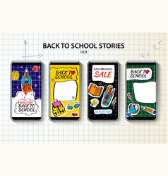 back to school instagram stories template vector image