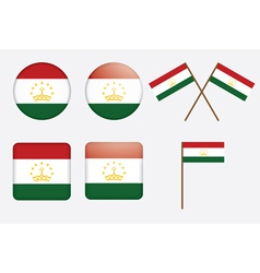 badges with flag of Tajikistan vector image