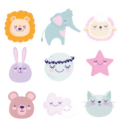 bashower cute lion bunny cat bear elephant vector image