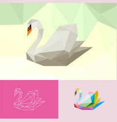 basic rgbswan animal pet pop art low poly line vector image