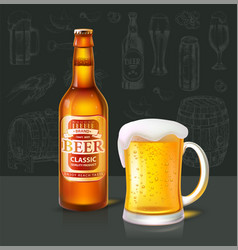 beer classic beverage type and glass set vector image