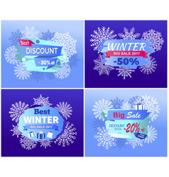 best dicounts winter big sale best offer posters vector image vector image
