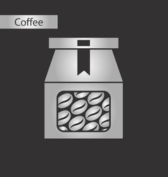 Black and white style icon coffee package vector