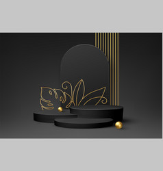 black product podium with golden monstera leaf vector image