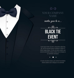 Black tie event invitation elegant black and vector
