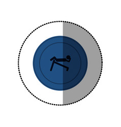 Blue symbol person do exercise gym vector