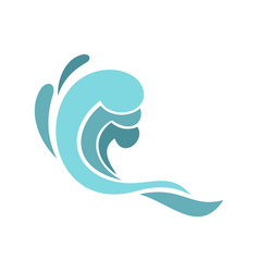 blue wave icon cartoon style vector image