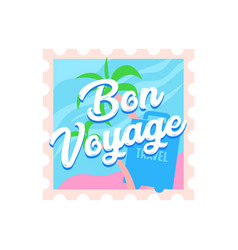 bon voyage travel icon with palm trees vector image