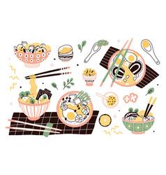 Bundle ramen in bowls and chopsticks set of vector