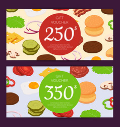 Burger ingredients discount voucher or gift vector