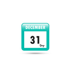 calendar icon 31 days in december vector image